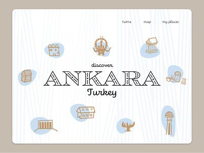 Travel App Mock-up::City of Ankara:: mobile app tablet page app design travel app simple design clean ui typography city doodle landing page turkey ankara branding ui design vector 2d icon illustration