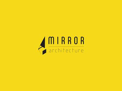 Mirror Architecture logo dimension mirror yellow negative space macbook mac wall art simple clean branding typography ui logo architecture design vector 2d isometric icon illustration