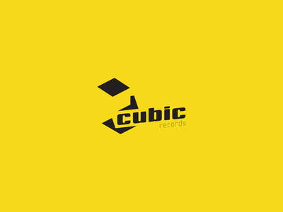 Cubic Records logo geometry isometric art music record personal project logo simple clean negative space design letter typography 3d branding ui vector 2d isometric icon illustration