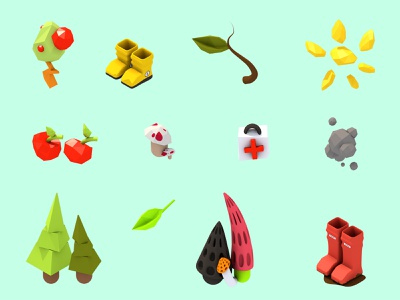 Hiking Icon Set game art hike hiking render graphic design nature plant mushroom cute icon set low poly cinema 4d c4d 3d design game isometric icon illustration