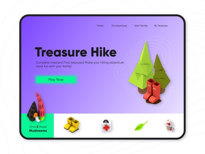 Hiking & Treasure Hunt Game dailyui graphic design treasure hunt design 2d vector low poly cinema 4d c4d 3d kids game art mobile app app hike ui game isometric icon illustration