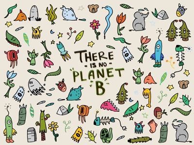 There is No Planet B ideas original creative package design cartoon character animal pattern background environment nature monster creature doodle design vector 2d icon illustration
