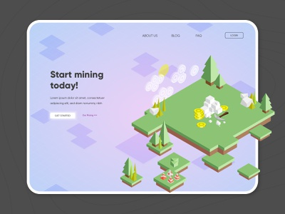 Crypto Mining fintech mining crypto currency crypto money stock market 3d pixel game ui design vector isometric icon illustration