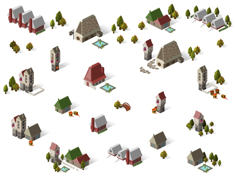 Game Design building isometric english set icon church pool game house town island architecture