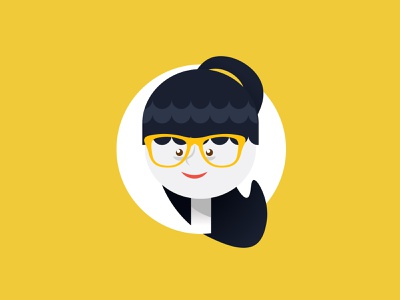 🥽 cute girl pony tail nerd girl dribbble weekly warmup playoff avatar design weekly warm up profile picture profile pic profile portrait flat design character design character avatar design vector 2d icon illustration