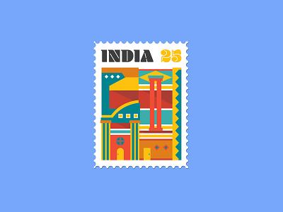Postage Stamp Design_INDIA logo composition destination travel bauhaus typo postage vacation mail typography flat geometric architecture india stamp design vector 2d icon illustration