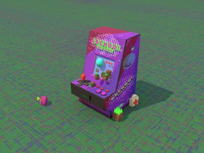 Retro Video Game Logo weekly warmup blender old machine arcade vintage retro video game cute character 3d art lowpoly 3d low poly 3d logo game design isometric icon illustration
