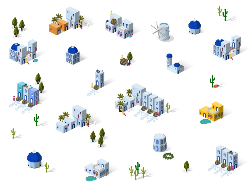 Game Design isometric icon building house set tree santorini bodrum architecture game island town