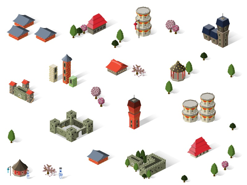 Game Design icon isometric tower building set village town city game house east architecture