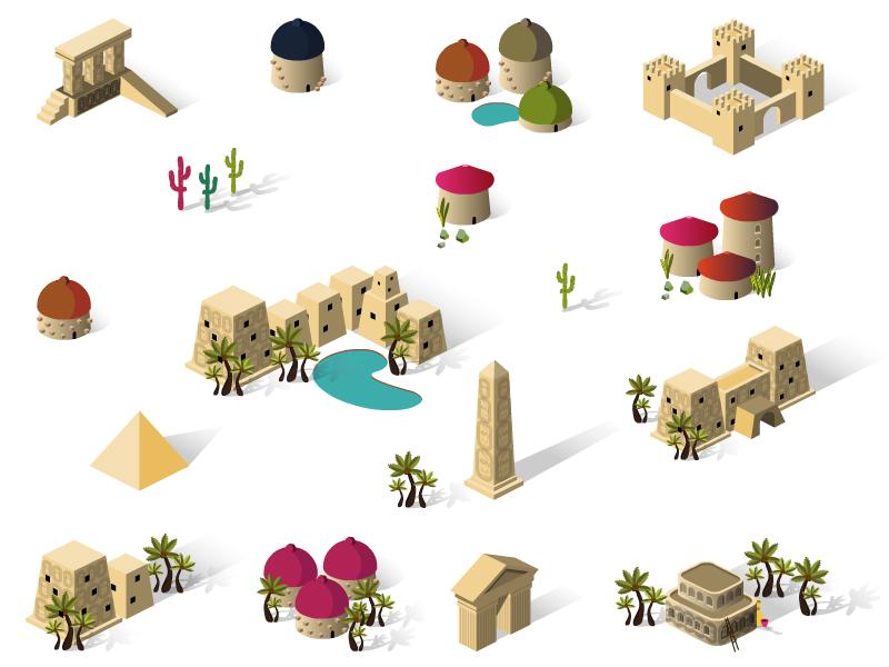 Game Design icon isometric egypt ziggurat obelisk building set village town city game house