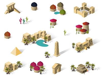 "Isometric Buildings - Theme: ""Egypt"" icon isometric egypt ziggurat obelisk building set village town city game house"