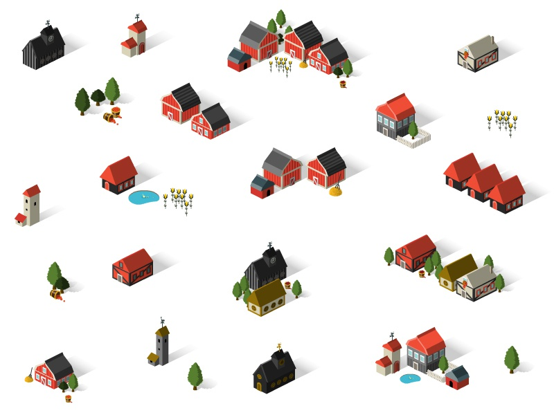 Game Design icon isometric building city town barn house village architecture farm island game