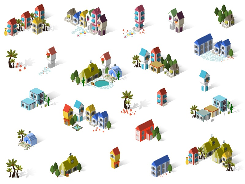 Game Design building isometric set icon summer church stripe holiday game island house architecture