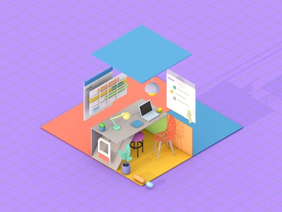 Office model graphic design icon desk colors work workspace blender cinema 4d c4d lowpoly low poly cute office room 3d game design isometric illustration
