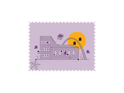 Spook Town cloud cybersecurity unique outline line ghost spooky season october dribbble weekly warmup halloween hacker technology it tech design vector 2d illustration