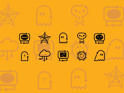 Techy Halloween Icons 🕸️ skeleton skull computer pattern web color cute cybersecurity it technology tech halloween ghost logo ui design vector 2d icon illustration