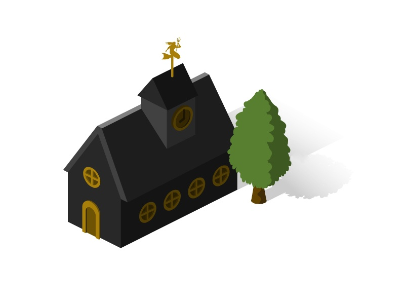 Isometric Black House church city village house building architecture infographic 2d 3d travel map isometric