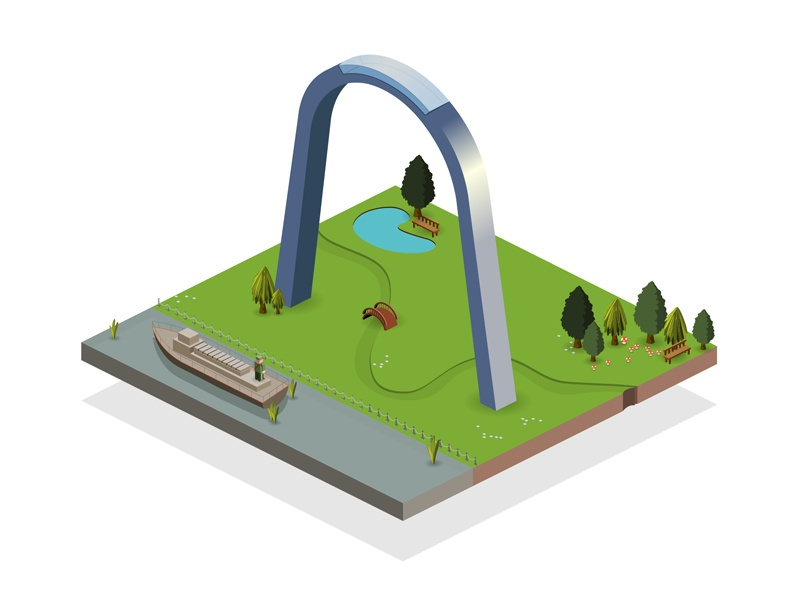Isometric Gateway Arch soldier boat island river building map icon travel monument arch isometric usa