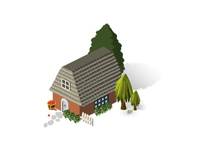 Isometric Dutch Colonial House town door illustration building isometric tree landscape city house dutch game architecture