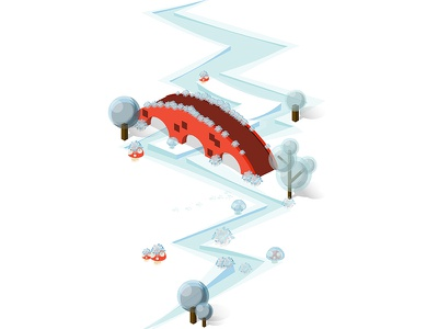 Isometric Winter Bridge isometric china isometric structure isometric icons isometric video game isometric illustration isometric design isometric scene isometric town isometric city isometric bridge china game city town freeze cold winter architecture isometric bridge