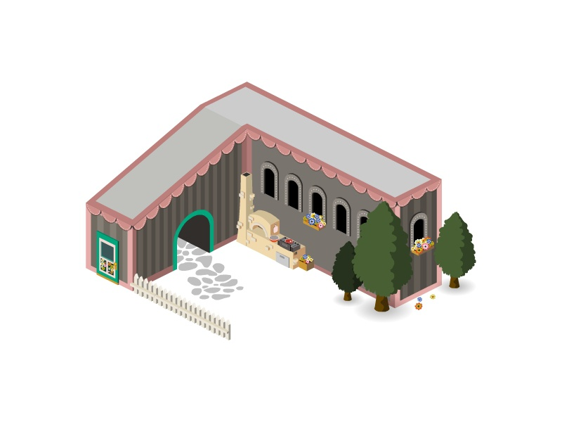Isometric Hungarian house building game island town city house map icon 3d isometric