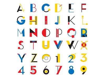 BAUHAUS Alphabet vibrant bright colors poster vector flat design geometric lettering simple typeface logo shape letter number alphabet illustration bauhaus typography type typo font