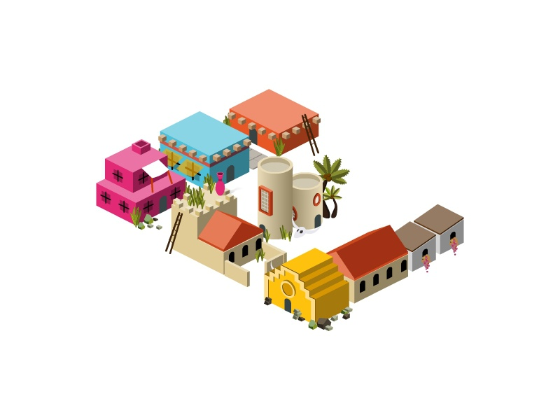 Isometric Letter E type alphabet letter building town city map icon architecture 2d 3d isometric