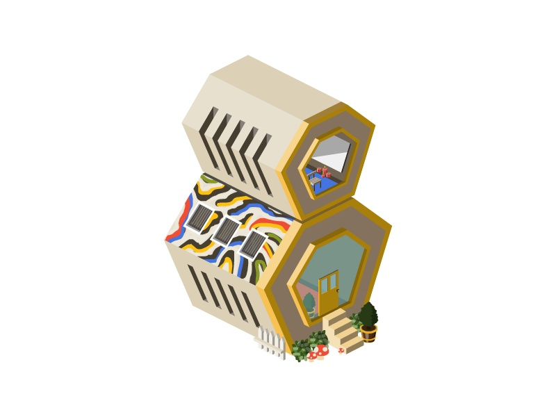 8::Beehive mushroom illustration plant house number map building architecture 2d isometric