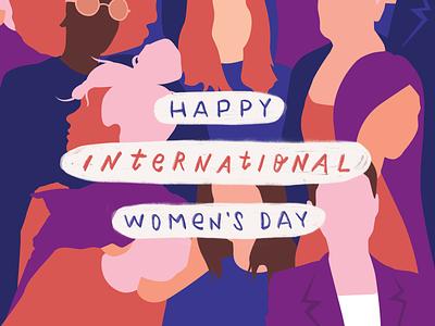 Happy International Women's Day' pink drawing happy message powerful future female iwd typism international womensday equality ladyboss woman women ladies girl girlpower feminist illustration