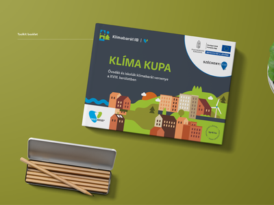 Toolkit booklet for climate change event city illustration identity branding event branding environment eco bio event nature climate mockup brochure mockup desk pencil print brochure toolkit booklet book