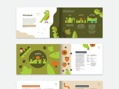 Spreads from a toolkit booklet for a climate change event green greenery nature bio eco fruits forest leaves leaf bird illustrations editorial spreads mockup print leaflet illustration brochure booklet book