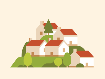 Houses in the Hungarian countryside flat illustration dwelling buildings houses society community trees folk outdoors hills country countryside hungarian hungary village city town building house