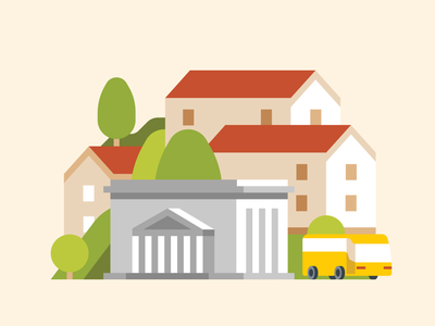 Houses in the Hungarian countryside map illustration flat trees hill public transport city centre city center downtown travel bus government village town city buildings building houses house