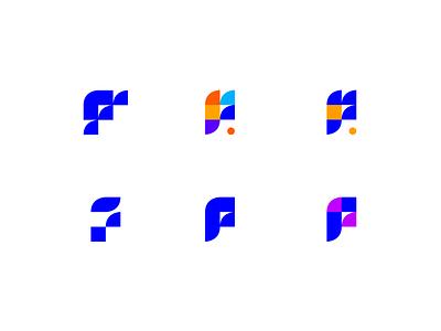 Variations for the letter F - logo exploration exercise flat typographic typography logotype exercise style blue geometry geometric letter alphabet identity brand design branding brand logo design logo full cap capital