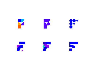 Variations for the letter F - logo exploration exercise versions variations exercise sign minimal geometry geometric blue letter alphabet f flat identity icon logotype branding brand design brand logo design logo