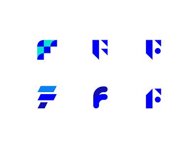 Variations for the letter F - logo exploration exercise exercise variations versions brand identity shapes geometry geometric minimal blue brand design letter alphabet identity branding emblem mark icon logo design logo