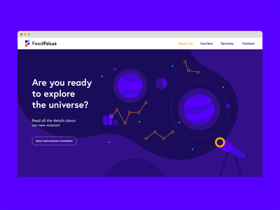 Website landing page illustration ux ui branding logo purple blue geometric chart space telescope universe planet illustration online web onepager landingpage landing webdesign website