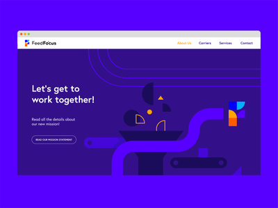 Website landing page illustration process business purple blue identity logodesign ux ui geometric shapes illustration branding brand logo factory landingpage landing webdesign web