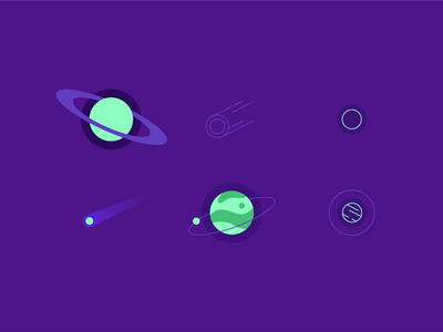 Outer space planet icon set sun jupiter saturn mars moon neon geometric purple set icon milky way shooting star planetarium planetary tesla nasa outer space space universe planet