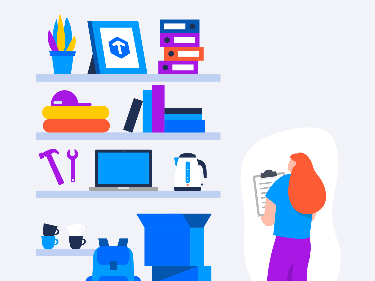 Doing inventory character app shop inventory laptop tax online office form buying shelf shopping administration admin woman girl character design digital drawing vector illustration