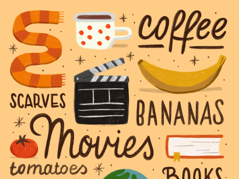 My Things apple pencil ipad procreate digital art collection things travel tomato book director movie fall autumn scarf mug coffee banana illustration drawing lettering