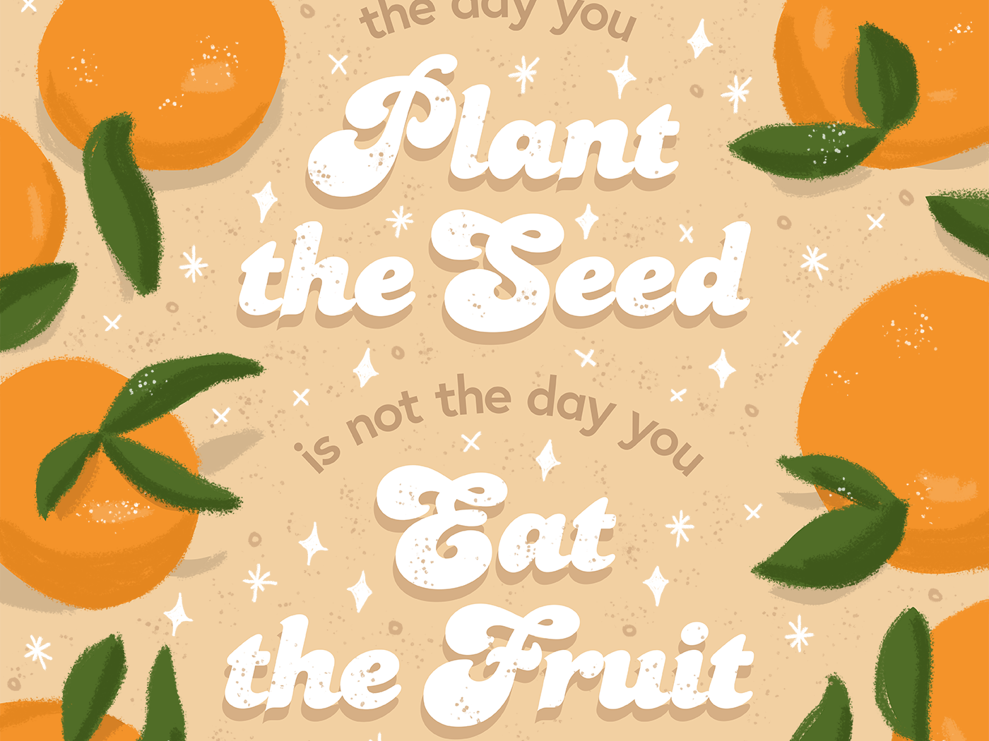 The day you plant the seed is not the day you eat the fruit procreate orange illustration fruit illustration seed letterhead poster typography handlettering lettering citrus fruit oranges orange digital drawing digital art drawing illustration qotd quote of the day quote