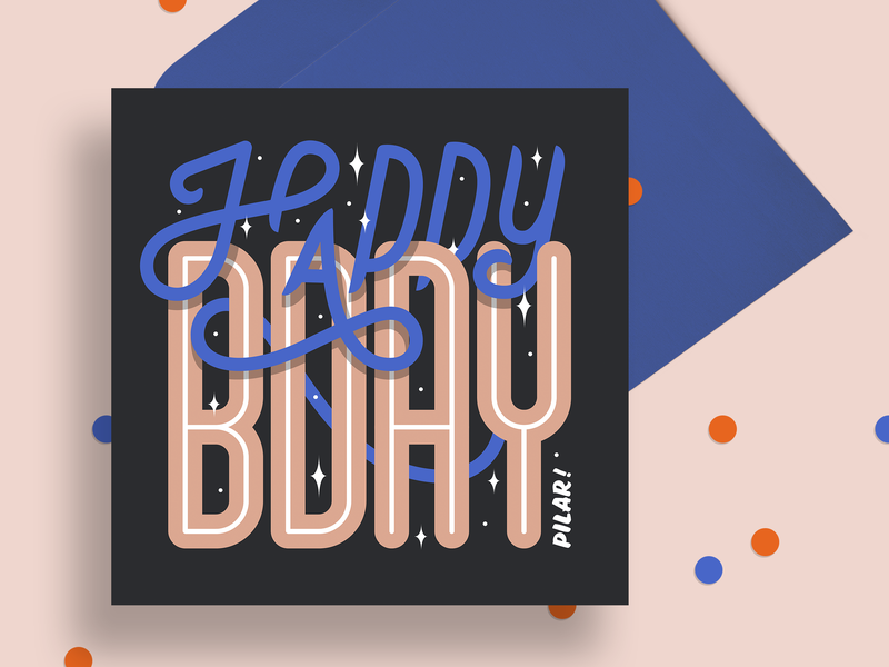 Birthday card print envelope illustration party birthday party confetti card design greeting card mockup card mockup mockup happy hbd bday greeting card birthday card birthday card typography handlettering lettering