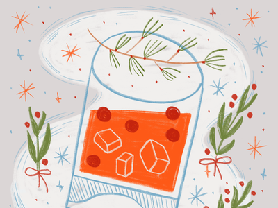 12 Drinks Of Christmas - Cranberry Fizz drawing applepencil ipad procreate winter holiday xmas 12daysofchristmas 12drinksofchristmas christmas bar kitchen ice cube pine fir coctail drinking drink fizz cranberry