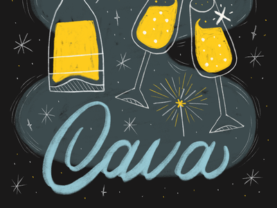 The 12 Drinks of Christmas - Cava drinks end of the year procreate handlettering lettering glasses champagne cheers party celebration new year cava