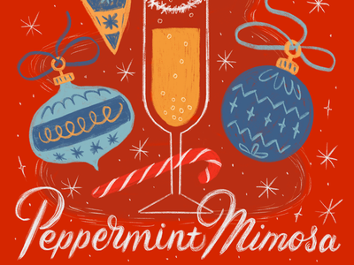 The 12 Drinks of Christmas - Peppermint Mimosa coctail festive red holiday xmas 12 days of christmas applepencil ipad procreate handlettering lettering candy cane christmas ornament drink mimosa