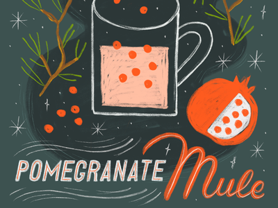 The 12 Drinks of Christmas - Pomegranate Mule ipad procreate drawing handlettering lettering holiday festive pomegranate mule cocktail drink xmas christmas