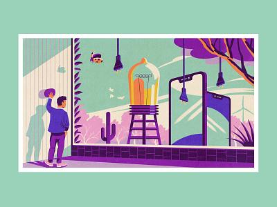 Econocom illustration - Renewable energies smartphone vector illustration illustration minimalist electricity ecology sustainability