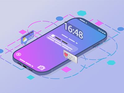 Isometric phone mobile flat phone illustration ai vector