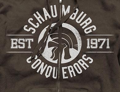 Conquerors Zip Hoodie hoodie typography helmet retro vintage texture white